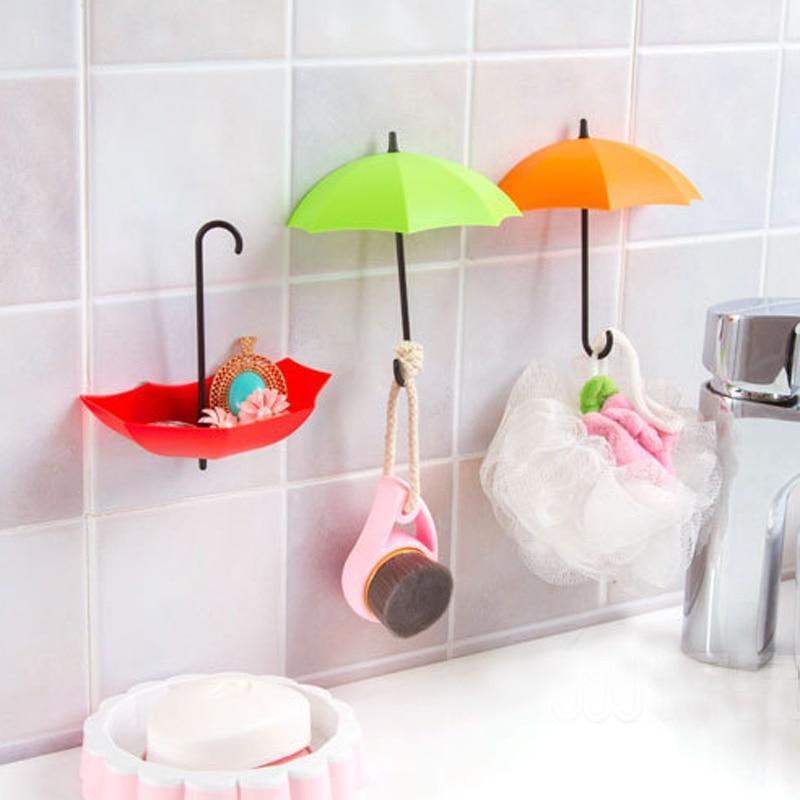 3 pcs Colorful Umbrella Hooks Bathroom Wall Command Storage Shelves 2  Function Storage Holder Hanger New. Command Bathroom Products