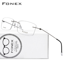 FONEX Titanium Alloy Rimless Glasses Frame Men Prescription Square Eyeglasses Women Optical Frame Screwless Eyewear 9201
