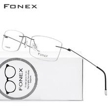 FONEX Titanium Alloy okulary bez oprawek rama mężczyźni recepta kwadratowe okulary kobiety oprawki optyczne bezśrubowe okulary 9201