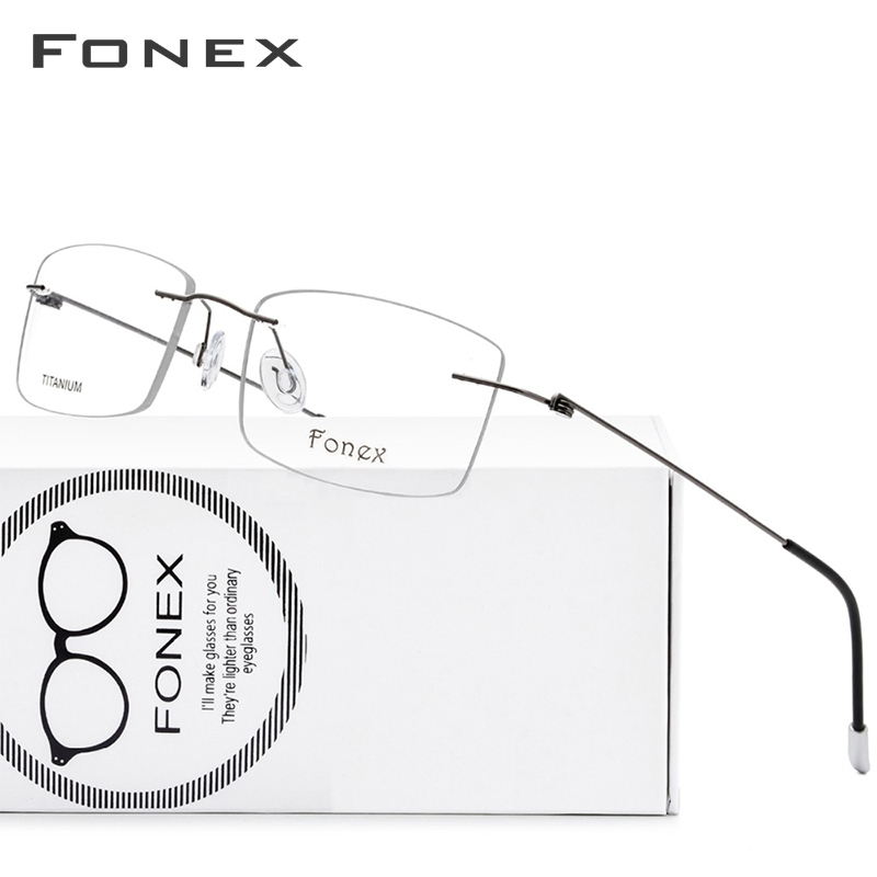 Titanium Alloy Rimless Glasses Frame Men Ultralight Prescription Square Eyeglasses Women Myopia Optical Frame Screwless Eyewear