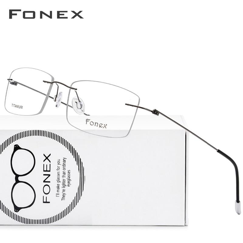 Titanium Alloy Rimless Glasses Frame Men Ultralight Prescription Square Eyeglasses Women Myopia Optical Frame Screwless Eyewear