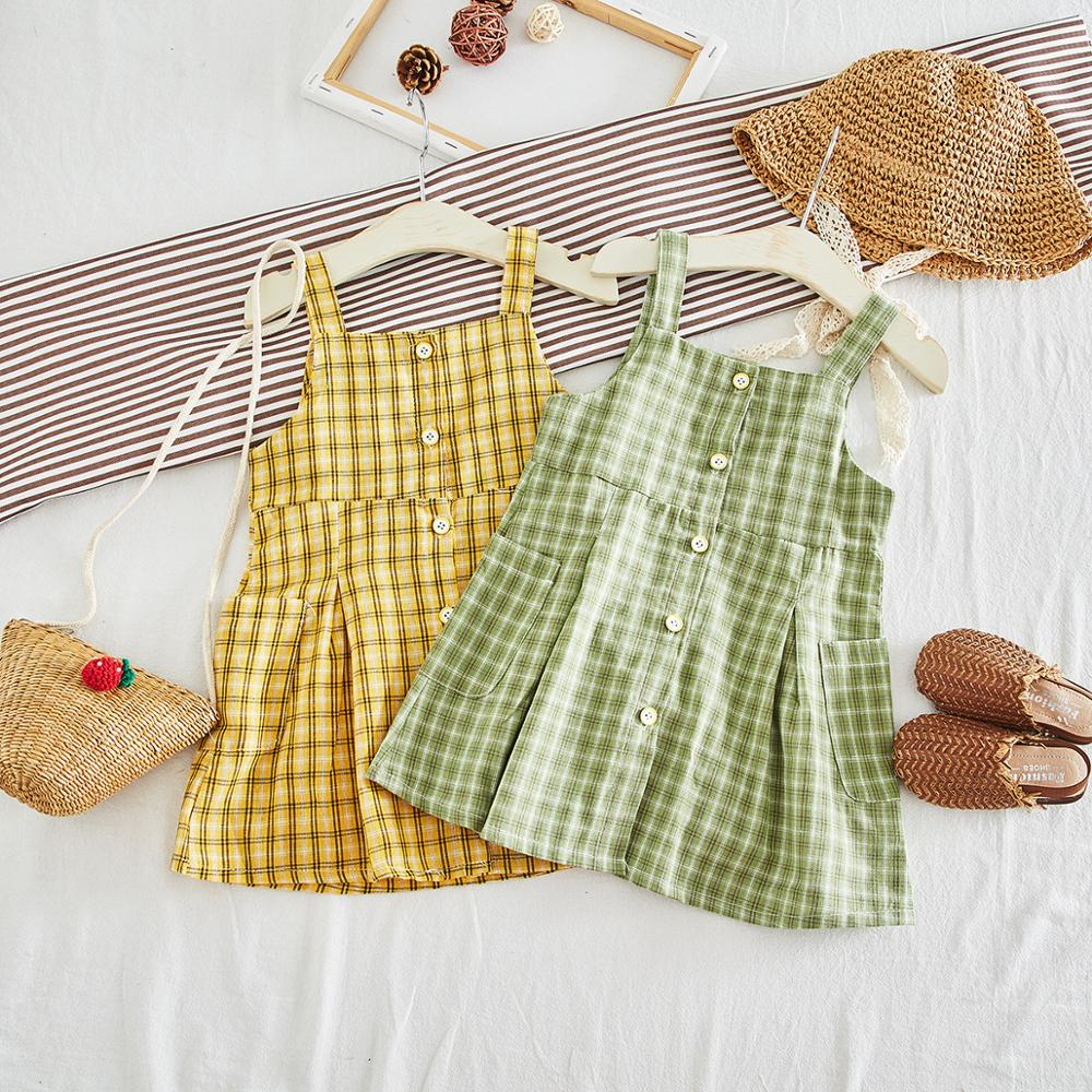 Lovely Baby Vintage Plaid Pockets Button Suspender Dress Yellow Green Color Pretty Kids Girls Summer Holiday Western Dress