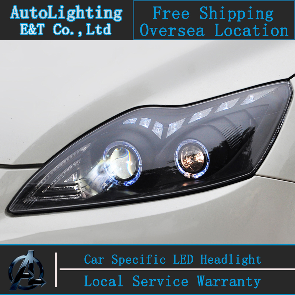 Car Styling LED Head Lamp for Ford Focus2 headlights 2009-2012 Focus led headlight turn signal drl H7 hid Bi-Xenon Lens low beam