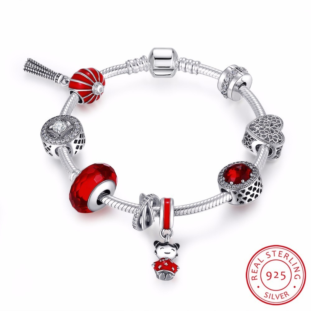 925 Sterling Silver Chinese New Year Lantern,Doll, Clear CZ & Red Enamel Charm Bracelet Sterling Silver Jewelry PSB011 925 sterling silver cz by the yard anklet bracelet 10
