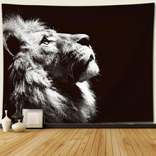Black white animal lion Tapestry Decor Hippie macrame wall hanging tiger tapestry mandala Home Decorations
