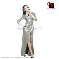 Sexy metallic pewter Latex Gown Rubber dress suits Gown deep V QZ 101