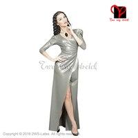 Sexy metalowe cyny Lateksowe Suknia Guma sukienka garnitury Suknia głębokie V QZ-101