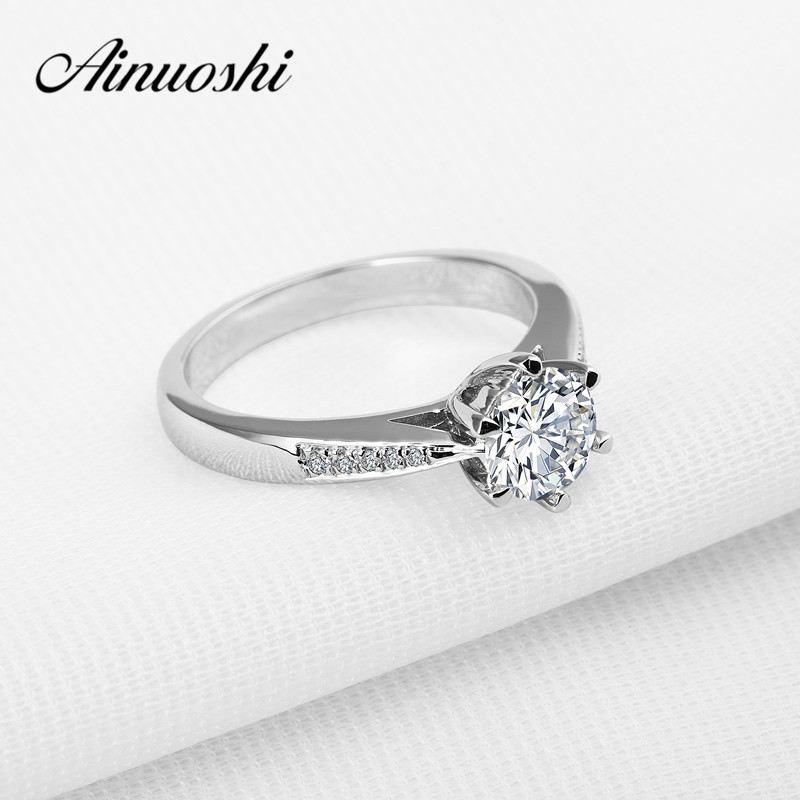 AINOUSHI Round Cut 1 Ct Sona 6 Prongs 925 Solid Sterling Silver Ring For Women Engagement Wedding
