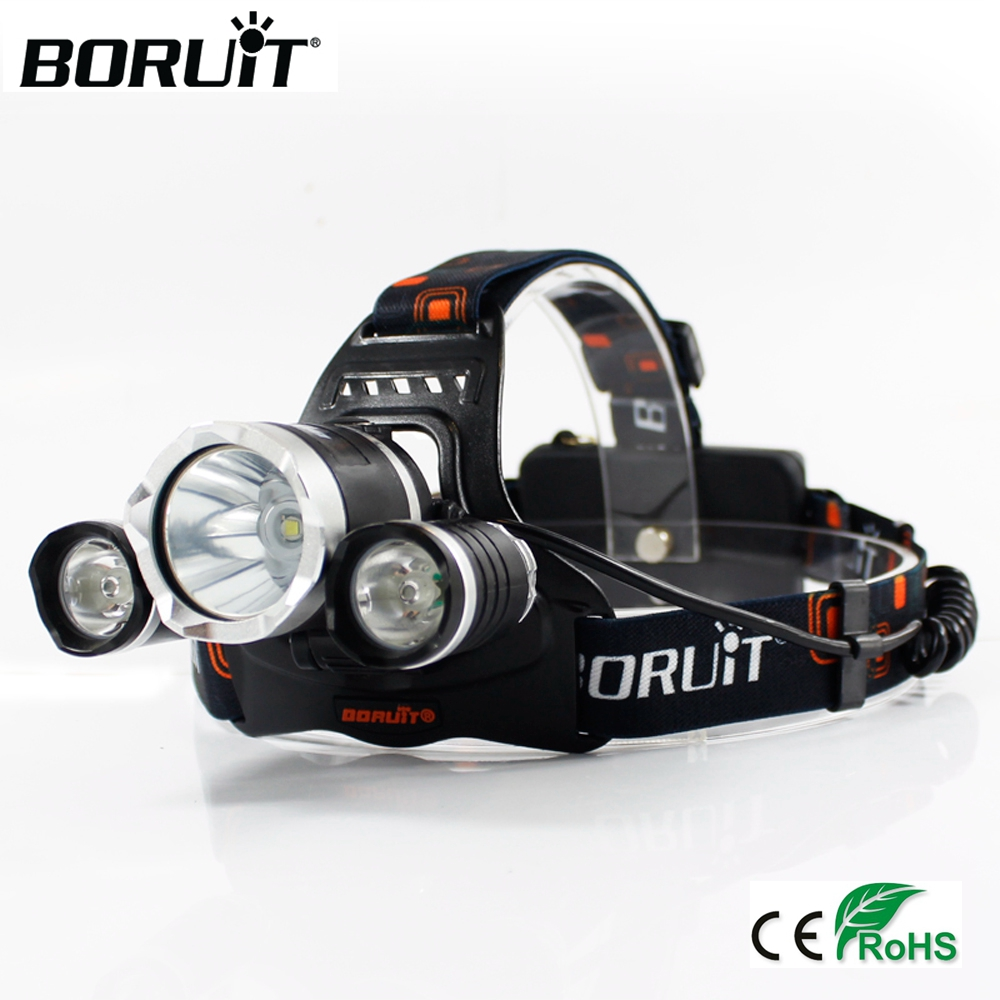 BORUiT XML T6 XPE LED 6000LM UV Headlamp 3-Mode Purple Headlight Rechargeable Head Torch Searching Flashlight by 18650 Battery