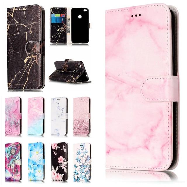 l'ultimo d3845 dfceb US $4.49 10% di SCONTO|Per Huawei P8 Lite Etui Custodie Per Huawei P8Lite  2017 Coque Marble Texture Rosa Portafoglio In Pelle Della Copertura ...