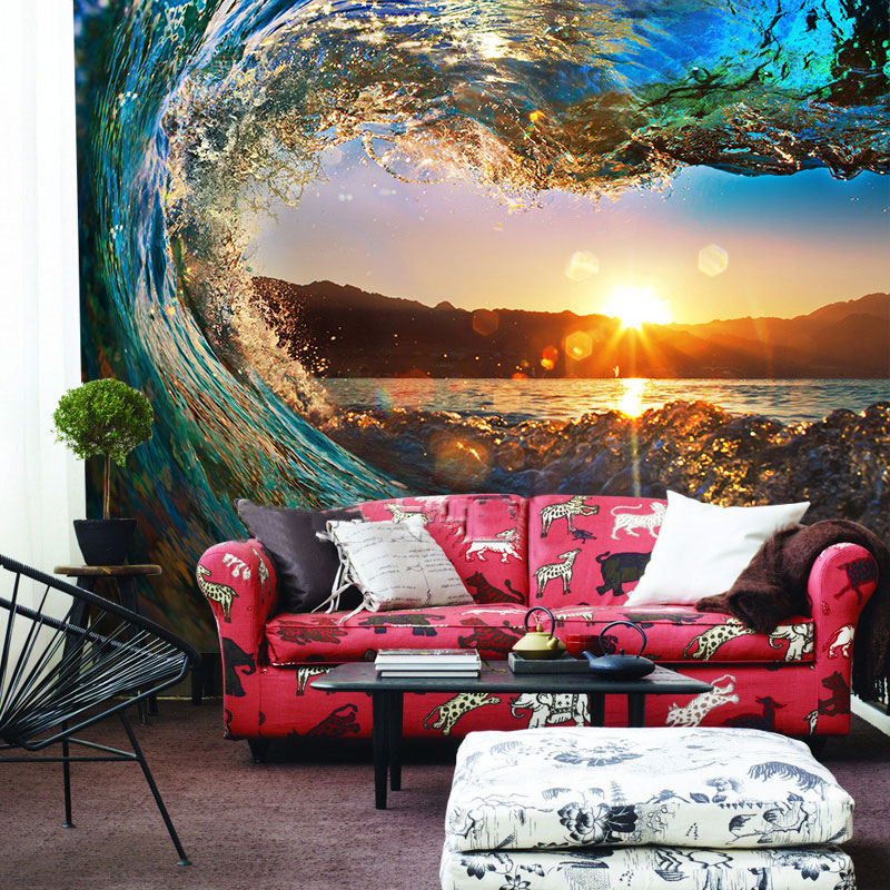 3d wall murals wallpaper landscape ocean sunsets roll wave for 3d photo wallpaper for living room