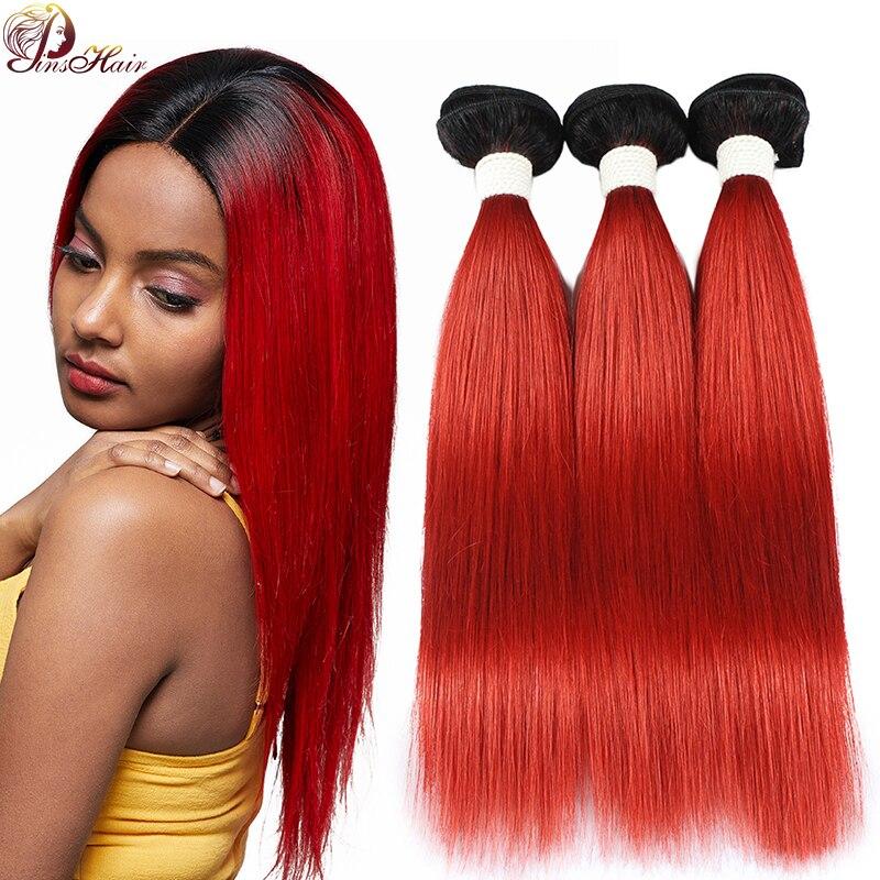 Ombre Brazilian Hair Weave Bundles 99J Burgundy Straight Human Hair Bundles Non Remy Human Hair Extensions Pinshair Red Bundles