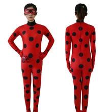 Kids Adult Miraculous Ladybug Cosplay Costume With Mask Ladybug Romper Costume Cat Suit Halloween Women Ladybug Costume