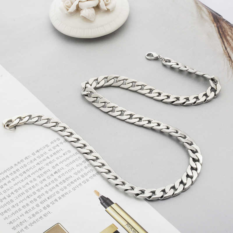 Moda męska biżuteria ze stopu srebrny naszyjnik prezent dla męża fajne Link łańcuch oryginalna solidna ze stali tytanu gęsty łańcuch naszyjniki z