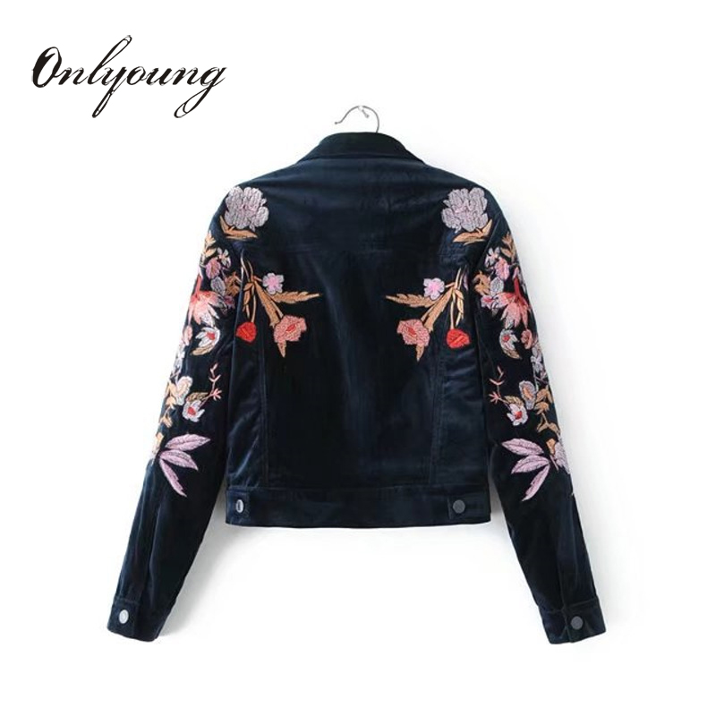 Onlyoung 2017 Autumn Women Velvet Embroidery Jakcet Coat Outwear Streetwear Floral Embroidered   Basic     Jackets