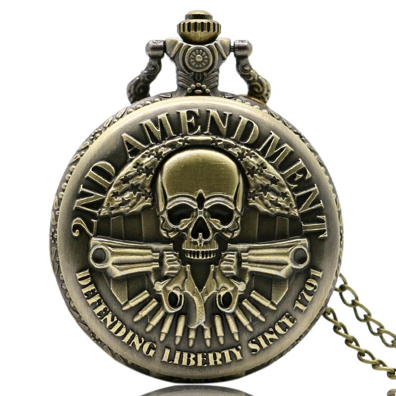 New Arrive Steampunk Skull Jewelry 2ND AMENDMENT Pocket Watch Bronze Quartz-Watches Men