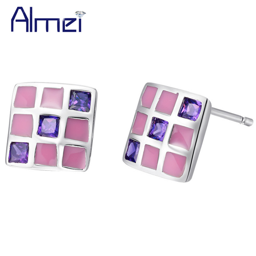 Almei 5%Off Affordable Lovely Design Korean Style Elegant Colorful Earrigs for Mothers Day Gift Made With Cubic Zirconia R507