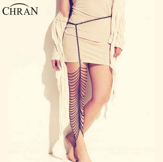 Impressionante!!! Chran 3 Cores New Multi Strand Cadeia Coxa Perna Tornozeleiras Mulheres Chunky Slave Harness Cadeia Corpo Jewlery BCA101