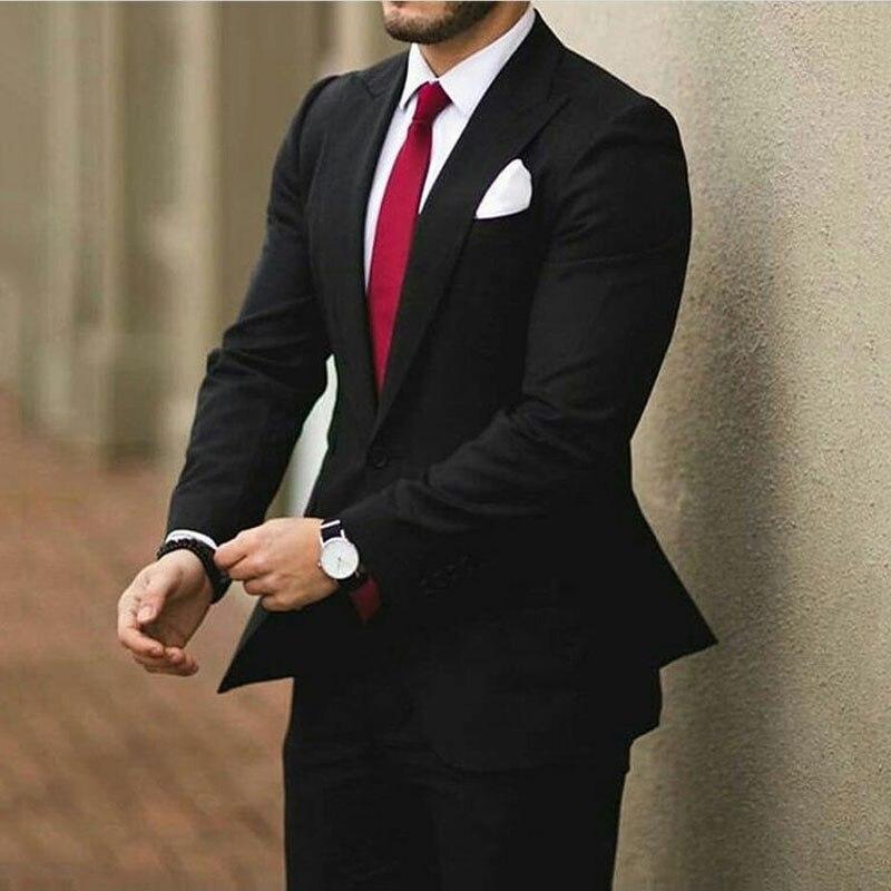 Side Vent Black Men Suits For Wedding Business Man Blazer Latest Peak Design Groom Tuxedo 2Piece Coat+Pants Terno Masculino