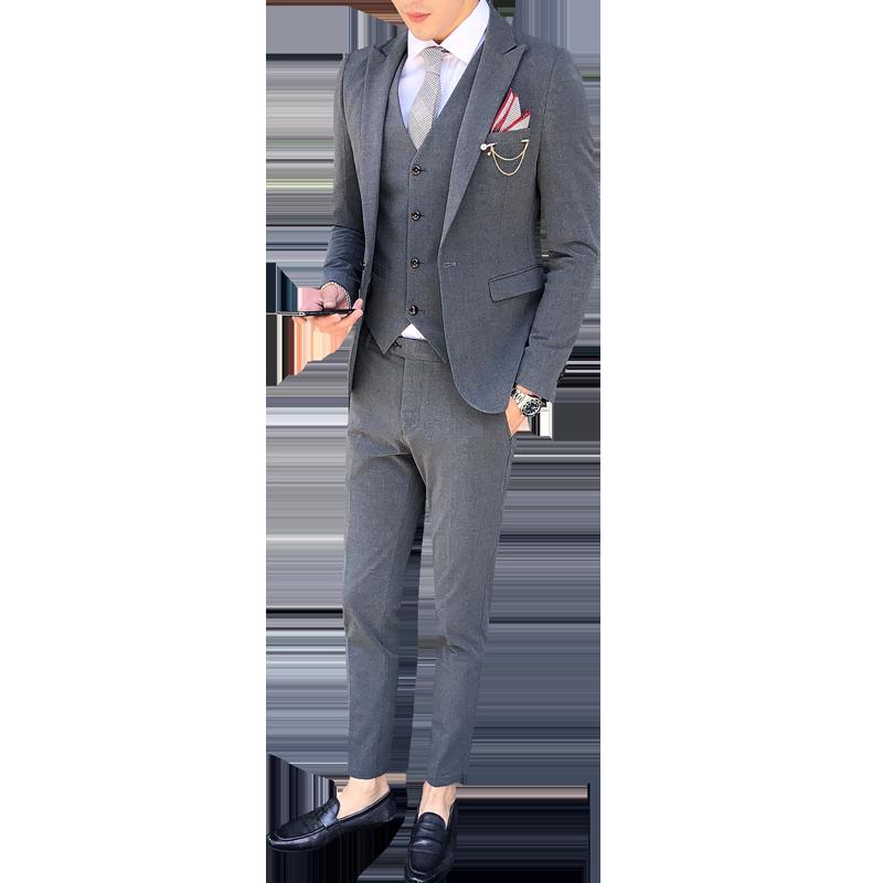 Бургундия Бизнес Мода Мужчины двубортный костюм джентльмен строгий костюм; для жениха на заказ - 6