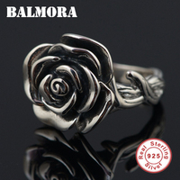 BALMORA 100 Real 925 Sterling Silver Flower Opening Rings For Women Lover Romantic Gift Thai Silver