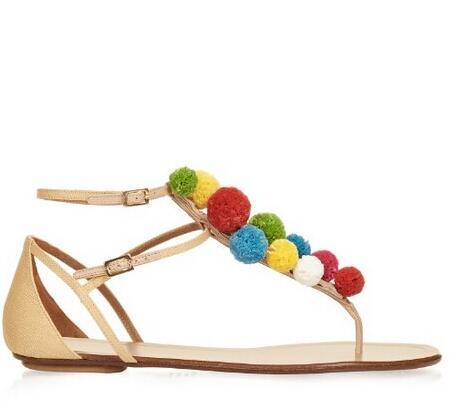 ФОТО Hot Selling 2016 Designer Pom-Pom Embellished Flat Raffia Sandals White and Multi-coloured Flip Sandals For Women Beach Shoes