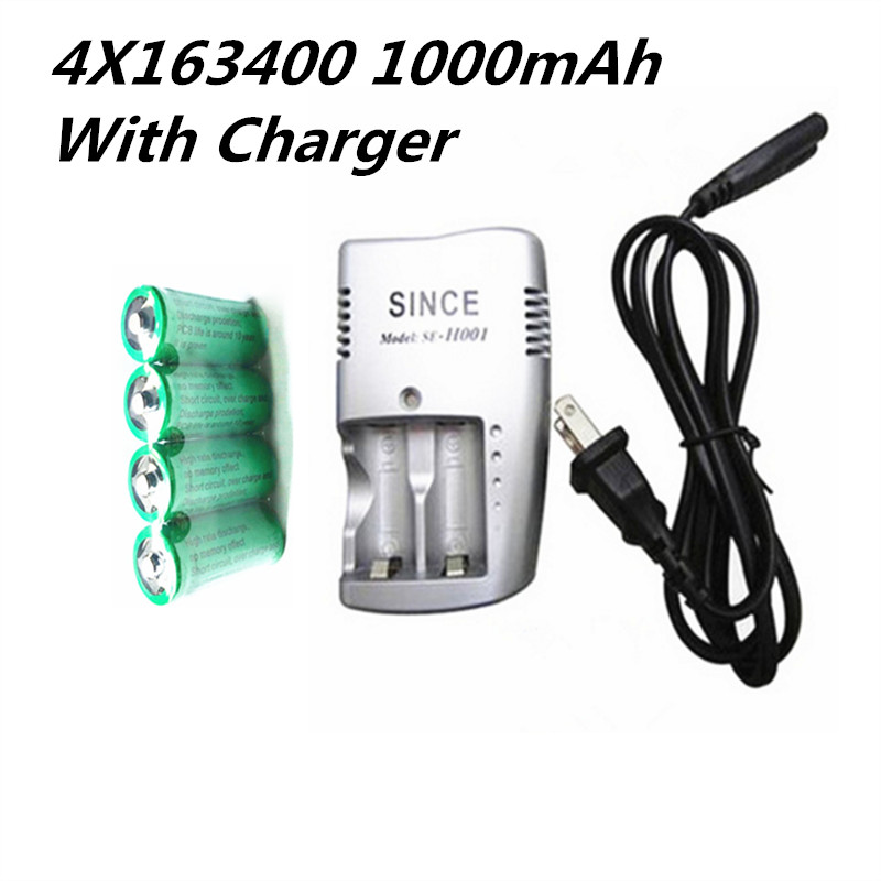 4X16340 1000mah 3v cr123a 16340 batterie rechargeable 3.0v rcr123a 16340 batteries lithium + 1pc 3.8v chargeur batterie