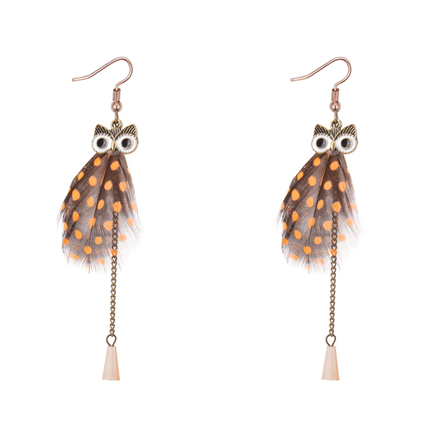 Very Long Owl Earrings Animal Design Feather American Indian Jewelry Chandelier Costume