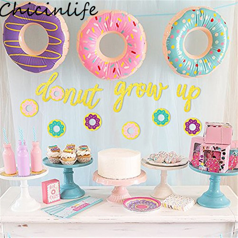 1st Birthday Party Themes.Us 3 04 19 Off Chicinlife 1set Donut Grow Up Banner Birthday Party Baby Shower Kids Favors 1st Birthday Party Decor Donut Theme Party Supplies In