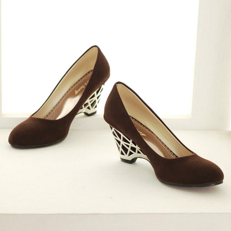 Tacones Primavera Zapatos Mujeres Señoras 34 Clásicos on 2016 Toe Bombas Slip red Black Redonda purple brown Cuñas Altos otoño Tamaño Grande 43 Moda Mujer T5WCq
