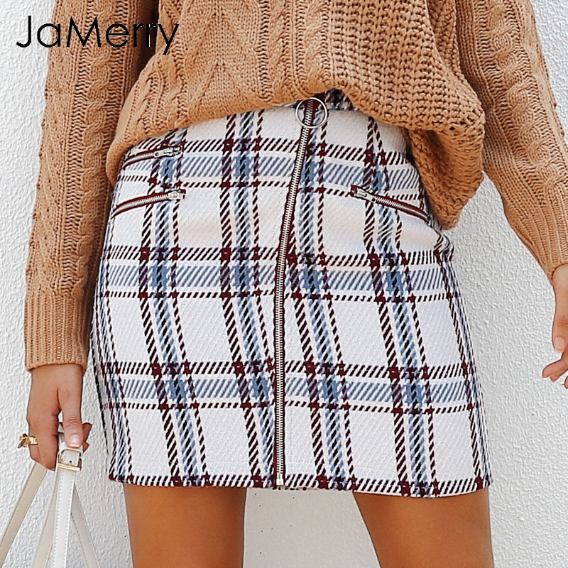 JaMerry Elegant Plaid Tweed Mini Skirt Women 2018 Fashion Cute Front Zipper Short Skirt Female Autumn Lining Winter Skirt