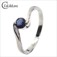 Moda anillos de plata de compromiso diseño simple anillo de zafiro natural real plateó la plata 925 precio al por mayor de zafiro