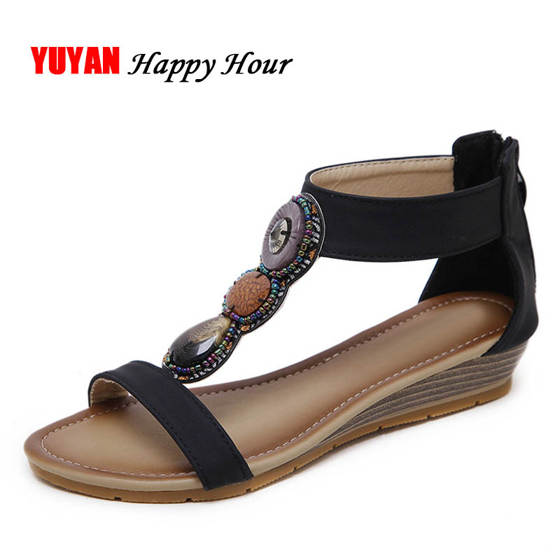 New 2018 Summer Shoes Women Sandals Bohemia Beach Sandals Sweet Ladies Brand Shoes Plus Size 42 ZH2575 big size 32 43 brand new 2016 summer sandals for women rhinestone casual retro sweet ladies fashion leisure shoes flat sandals