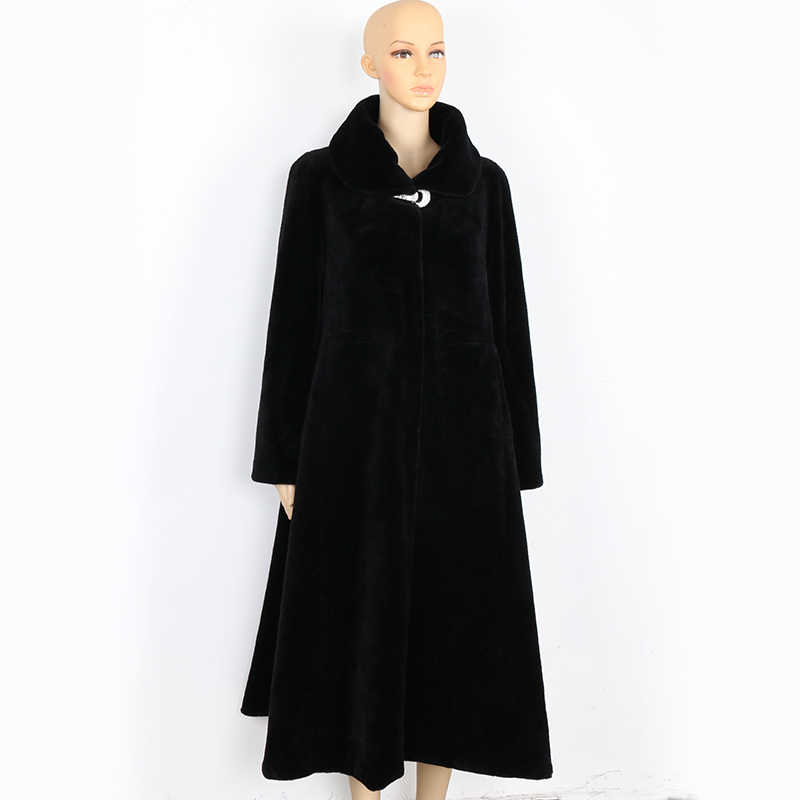 Nerazzurri Winter Long Real Fur Coat Women Oversized Plus Size 5xl 6xl 7xl Elegant Black full Skirt Sheep Shearling fur Overcoat