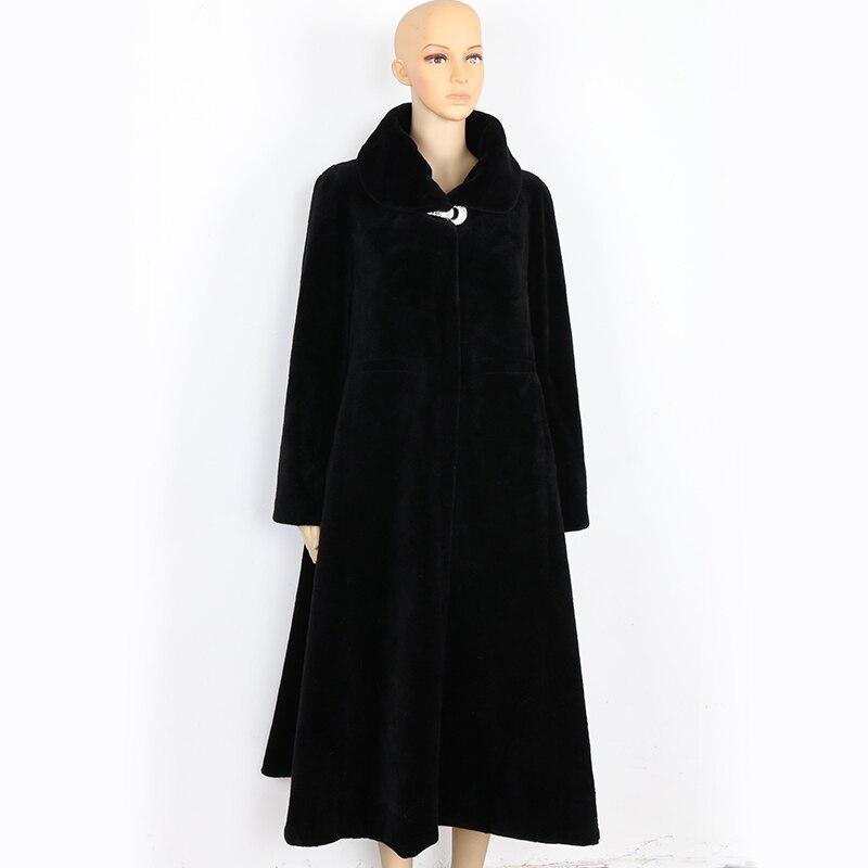 Nerazzurri 冬ロング本物の毛皮のコート女性特大プラスサイズ 5xl 6xl 7xl エレガントなスカート羊ムートンファーオーバーコート  グループ上の レディース衣服 からの 本物の毛皮 の中 1