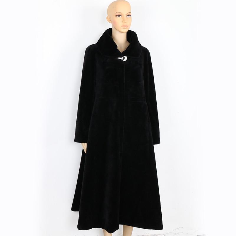 Mouton Noir Hiver 6xl Manteau Jupe 5xl Long Taille Véritable Élégant Black De Surdimensionné Grande Fourrure Nerazzurri 7xl Femmes aq6xA6P