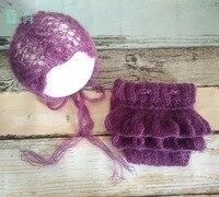 女の子モヘアロンパース付き帽子