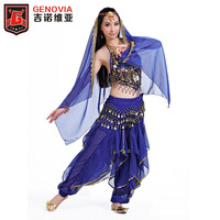 Belly Dance Performance Chiffon Beading Coins Sequins 5 Pieces Sleeveless Top Pants Headpieces Hip Scarf Shawl