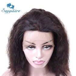Сапфир глубоко вьющиеся Синтетические волосы на кружеве натуральные волосы парики для Для женщин 110% плотность 8-20 дюймов малайзийские
