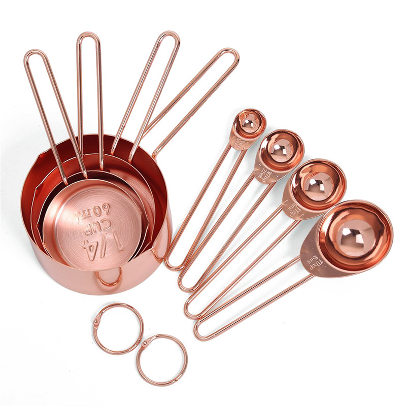 Rose Gold Stainless Steel Measuring Cups And Spoons Set Of 8 Engraved Measurements,Pouring Spouts & Mirror Polished For Baking