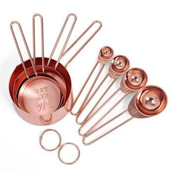 Tazas y cucharas medidoras de acero inoxidable de oro rosa, juego de 8 medidas grabadas, caños de vertido y espejo pulido para hornear