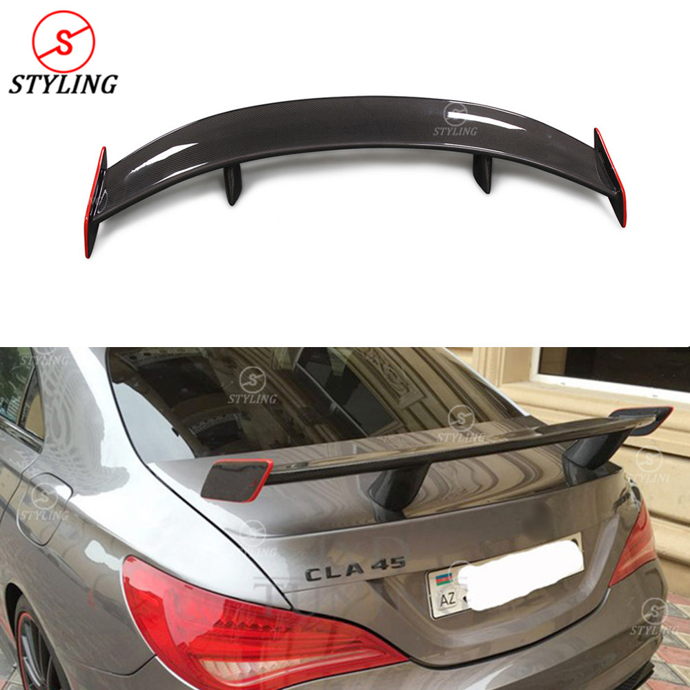 For Mercedes benz CLA W117 Spoiler GT Style With red line CLA45 W117 Carbon Fiber rear spoiler wing 2013 2015 2016 2017 2018+