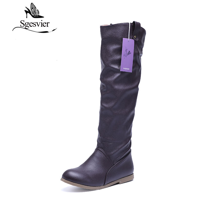 SGESVIER Knee High Boots Women Lady Winter Boots Footwear Wedge Shoes Fashion Sexy Snow Boots Warm Big EUR Size 34-43 AA566 sgesvier women boots snow boots 2017 winter platform heel casual knee high round toe buckle flat size 34 43 lady shoes ox098
