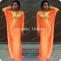 Más el Tamaño 2015 Robe De Soirée Larga Atractiva De Moda Musilim Vestido de noche Del Grano de Oro de Manga Larga de Dubai Kaftan Abaya Partido vestido