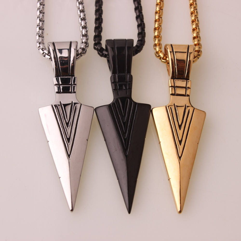 New Men Stainless Steel Arrow Pendant Choker Necklace Fashion Personalized Gift Jewelry Accessories 3 Color