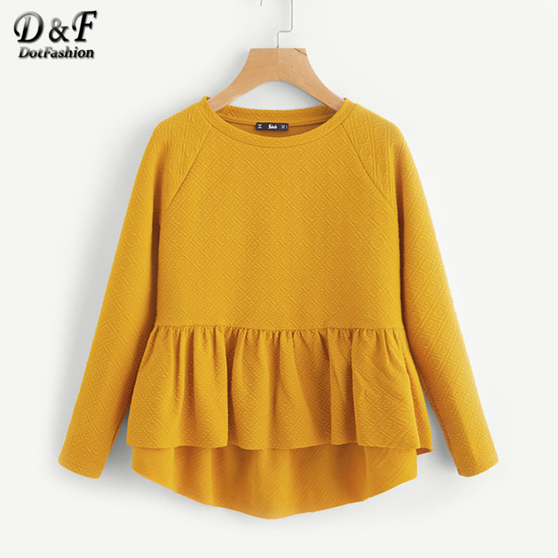 Dotfashion Raglan Sleeve Textured High Low Smock Sweatshirt Long Sleeve Round Neck Pullovers 2017 Yellow Long Sleeve Sweatshirt