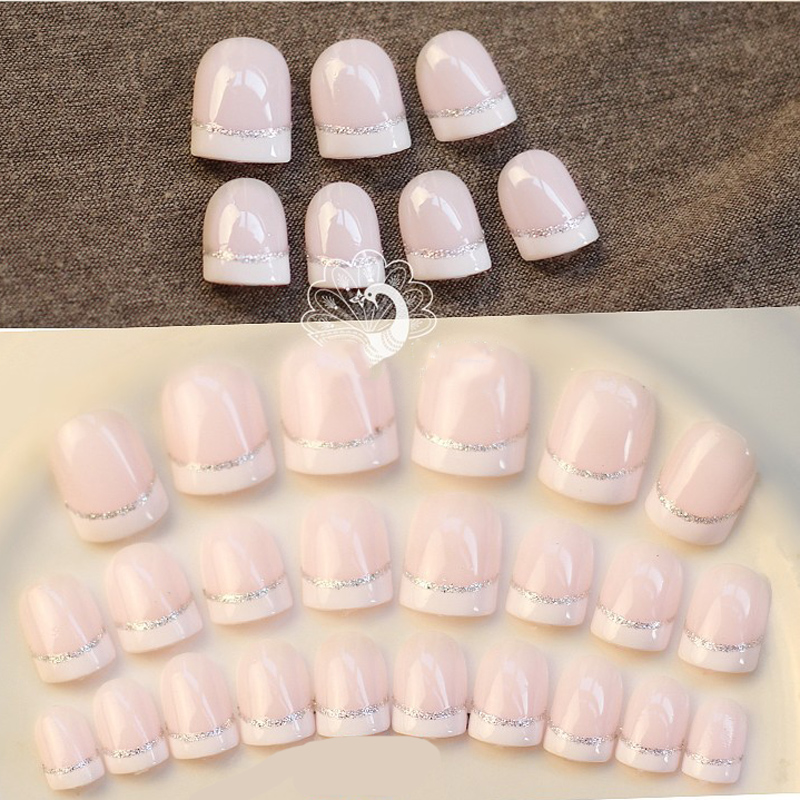 24pcs Fashion French Style Office False Nail Art Tips With Glue Fake ...