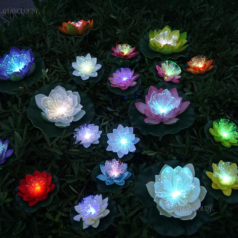 5 pieces Artificial Optic fibre Fake Lotus leaf flowers Water Lily Floating Pond flower Pool Plants wedding decoration C70(China)