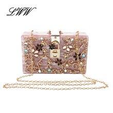 Mode Luxus Marke Aushöhlen Acryl Kupplung Frauen Abend Handtasche-partei Frauen Umhängetaschen mit Exquisite Diamant Blume