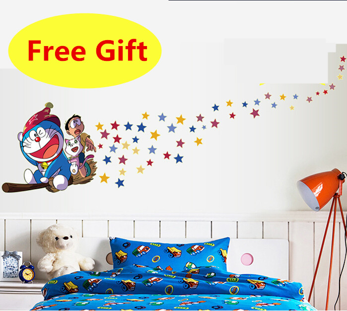 Cartoon Luminous Doraemon Wall Sticker Home Decoration Wall Decals For Kids Rooms Kindergarten Vinyl DIY Wallpaper Wall Decals